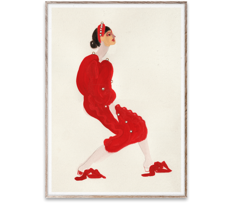 Red with Pearls 30x40cm poster