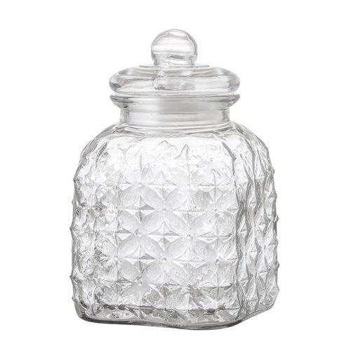 Bloomingville Glazen voorraadpot met deksel 16,5x16,5xH25,5cm