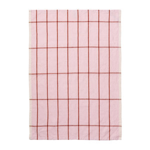 Ferm Living Hale keukenhanddoek roze/roest linnen