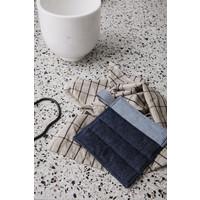 Hale keukenhanddoek zand/zwart linnen