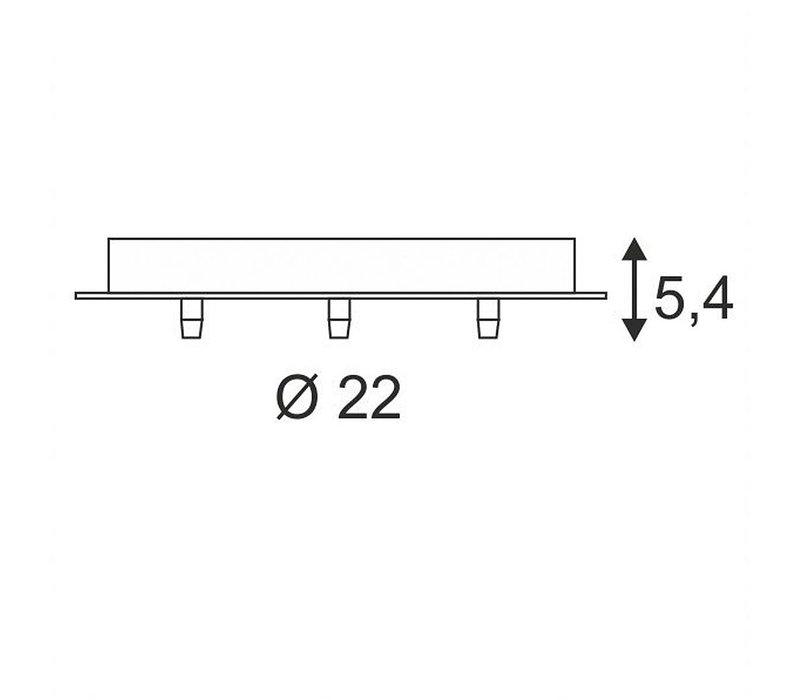 SLV plafondkap , 3 uitgangen rond wit incl. trekontl.