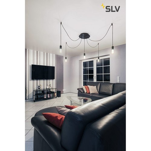 SLV plafondkap , 5 uitgangen rond zwart incl. trekontl.