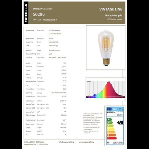 Segula LED Rustica Gold - Long Style 400lm E27 6W