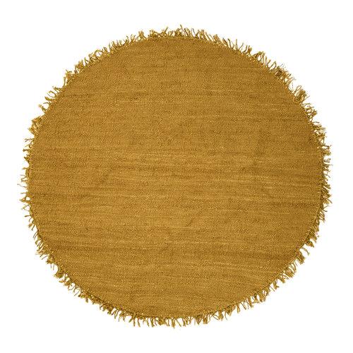 Bloomingville Rond tapijt geel jute