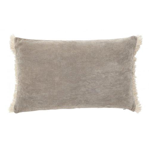 nordal Kussen met franjes fluweel grijs