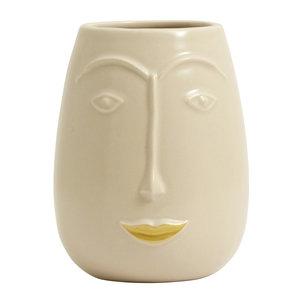 nordal Facia bloempot crème met gouden lip
