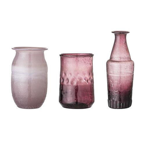 Bloomingville Vaasjes purper glas - set van 3