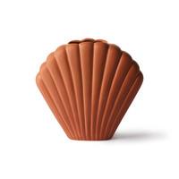 Keramische schelp vaas bruin medium