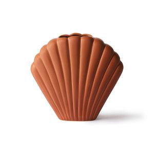HK Living Keramische schelp vaas bruin medium