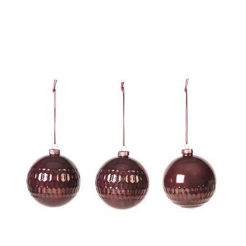 Broste Copenhagen Grafik deco kerstbal glas - set van 3