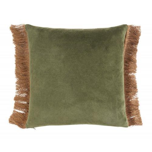 nordal Kussen met franjes fluweel groen