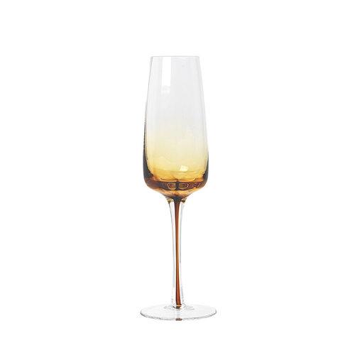 Broste Copenhagen Amber champagneglas doorzichtig/karamel
