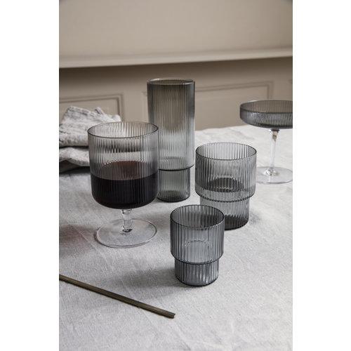 Ferm Living Ripple glazen smoked grey set van 4