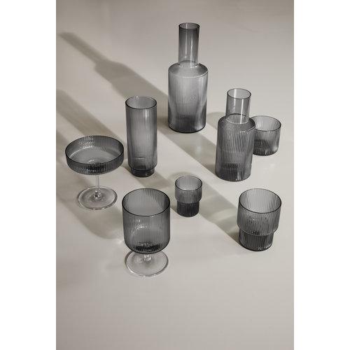 Ferm Living Ripple kleine glazen smoked grey set van 4