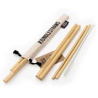 Bamboe rietjes set van 6 vanille