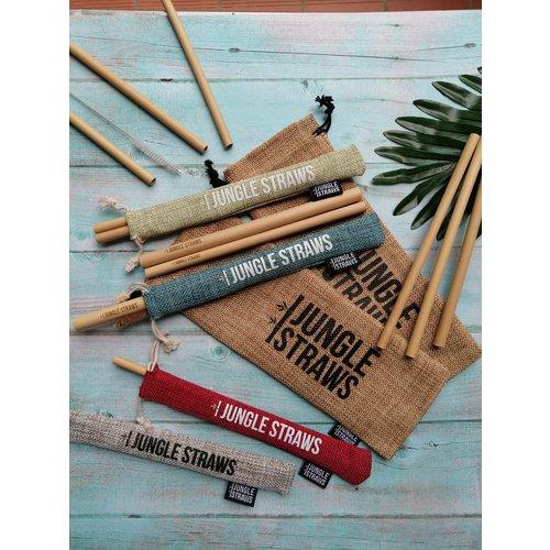 Jungle Straws Bamboe rietjes set van 6 vanille
