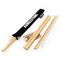 Bamboe rietjes set van 6 zwart