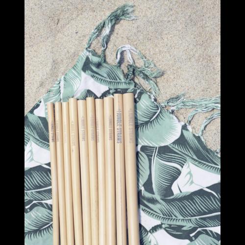 Jungle Straws Bamboe rietjes set van 6 zwart