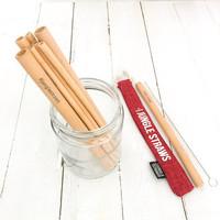 Bamboe rietjes set van 6 rood