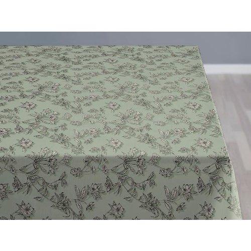 Shadow flower afwasbaar tafelkleed Tea green per cm