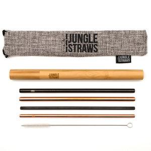 Jungle Straws Metalen rietjes set van 4 met bamboe koker