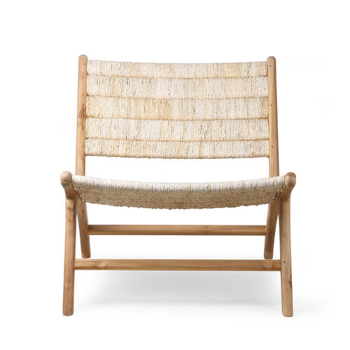 HK Living Lounge stoel abaca/teak