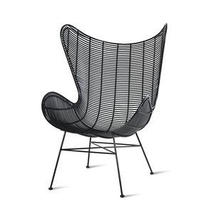 HK Living Tuinstoel egg chair zwart plastic rotan