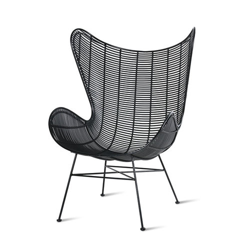 HK Living Tuinstoel egg chair zwart kunstrotan