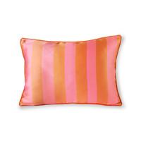 Kussen in satijn en fluweel oranje/roze