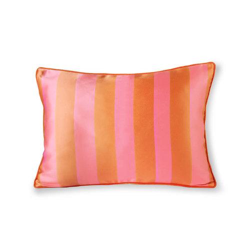 HK Living Kussen in satijn en fluweel oranje/roze