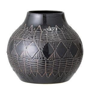 Bloomingville Cornelius vaas zwart aardewerk