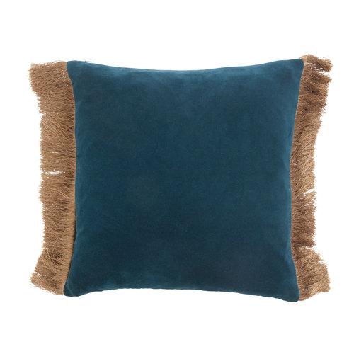 nordal Kussen met franjes fluweel dusty blue/dark blue