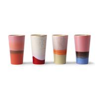 70's latte mok - set van 4
