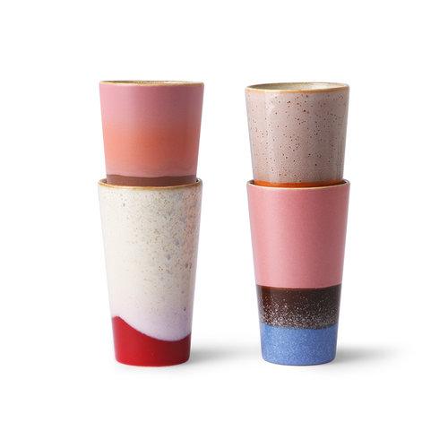 HK Living 70's latte mok - set van 4