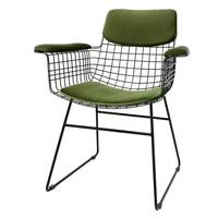 Comfort kit voor metalen draadstoel met armleuningen groen (fluweel)