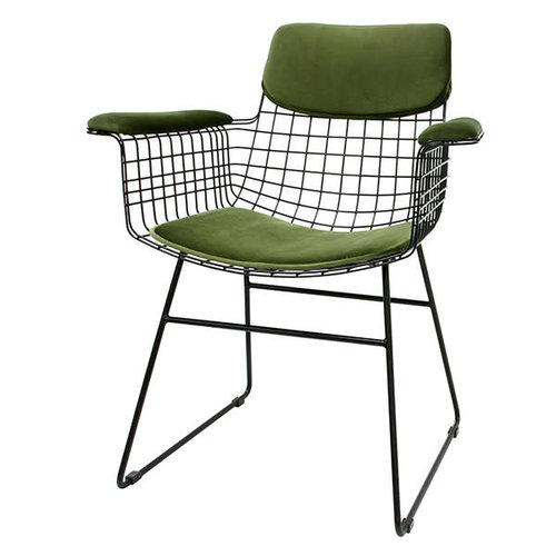 HK Living Comfort kit voor metalen draadstoel met armleuningen groen (fluweel)