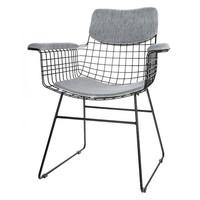 Comfort kit voor metalen draadstoel met armleuningen grijs