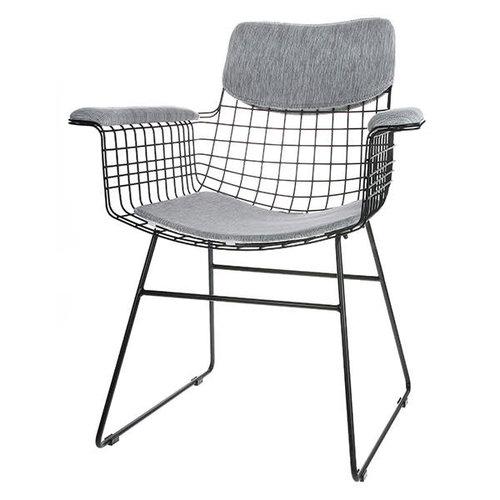 HK Living Comfort kit voor metalen draadstoel met armleuningen grijs