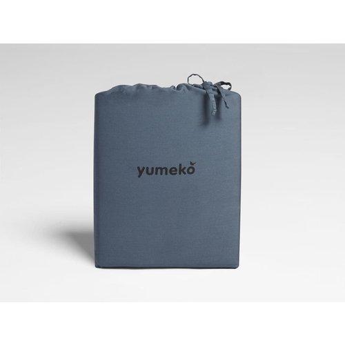 Yumeko Blue washed dekbedovertrek katoensatijn