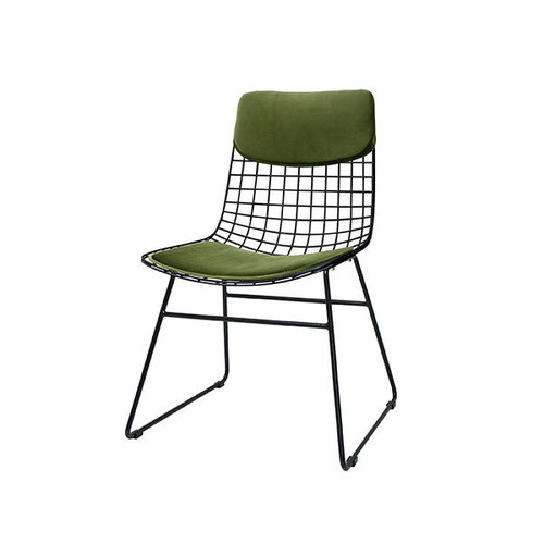 HK Living Comfort kit voor metalen draadstoel  groen (fluweel)