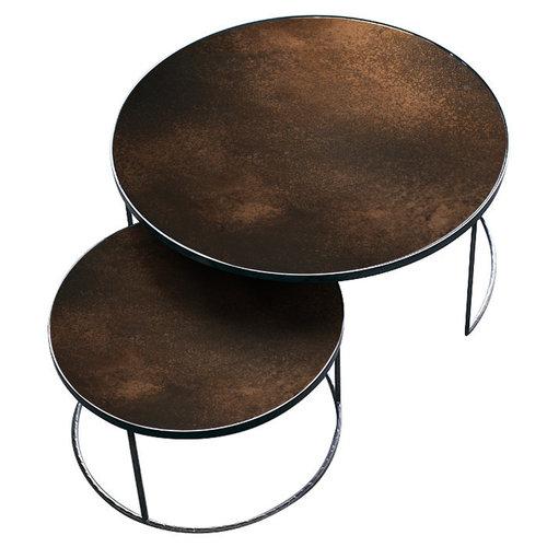 Ethnicraft Nesting salontafel bronze set van 2