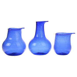 HK Living vazen gerecycleerd glas blauw set van 3