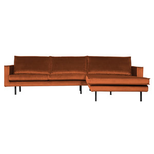 BePureHome Rodeo chaise longue rechts fluweel