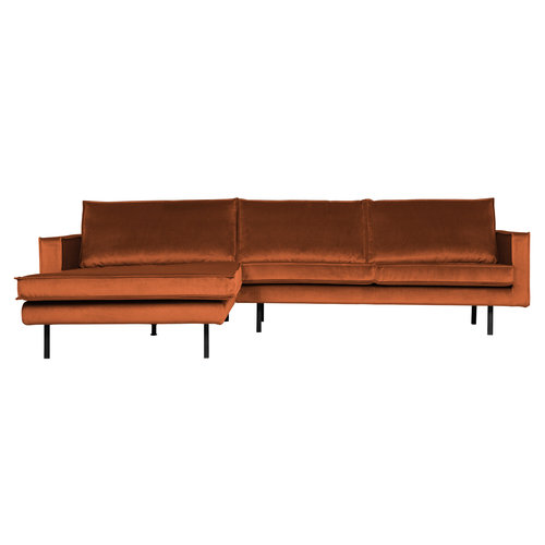 BePureHome Rodeo chaise longue links fluweel
