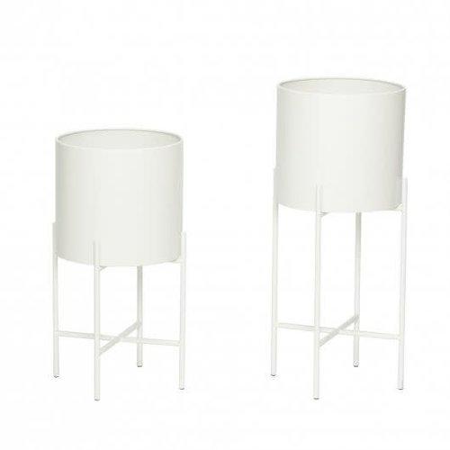 Hübsch Bloempotten op staander wit metaal set van 2