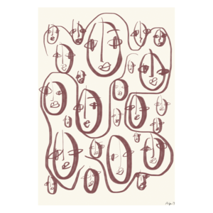 Paper Collective Random faces poster 50x70