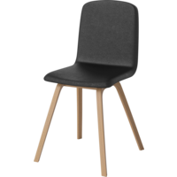 Palm chair leg oiled oak seat quattro leather black TOONZAALMODEL