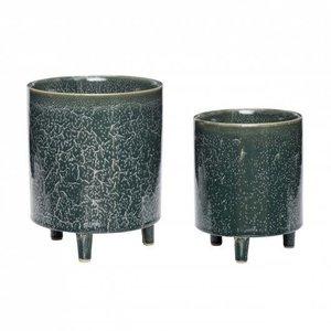 Hübsch Bloempotten groen keramiek - set van 2