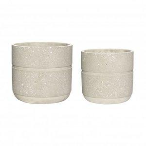 Hübsch Bloempotten beige beton - set van 2