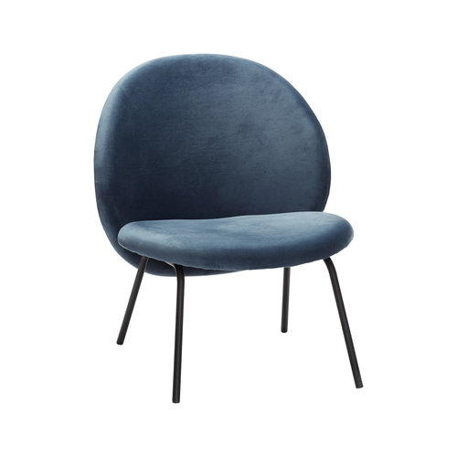 Hübsch Lounge stoel blauw velours